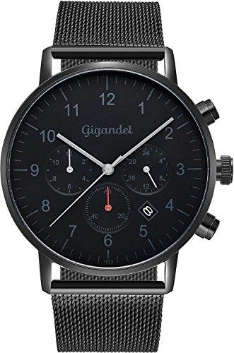 Gigandet herenhorloge minimalistisch dualtijdhorloge analoog met Milanese roestvrijstalen armband G21-007