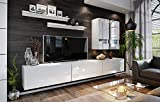 3xEliving A modernes Lambusco Wohnzimmermöbel Set, Wohnwand, Möbel für den Fernseher, weiße Farbe mit LED