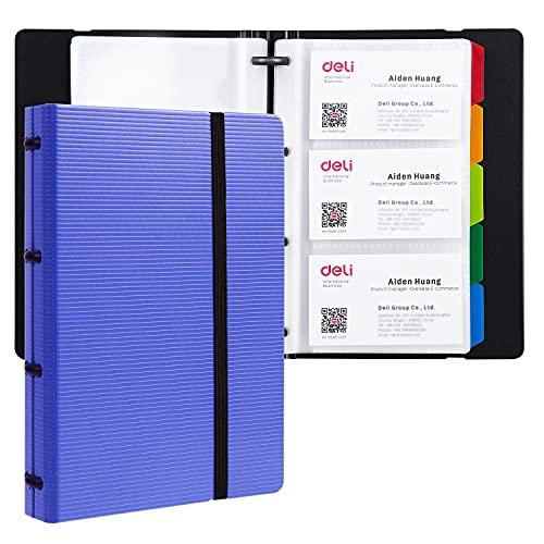 Deli Business Card Book Holder Journal Business Card Organizer Name Card Book Holder Office Business Card Holder Hold 180 Cards Blue