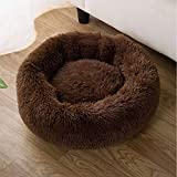 猫 ベッド ペットベッド クッション マット ペットソファ ラウンド型 もふもふ 丸型 Oドーナツふわふわ もこもこ ぐっすり眠る 暖かい 滑り止め 防寒 寒さ対策 洗える キャット 猫用 小型犬用 ペット用品 (Sサイズ(50cm)ブラウン)