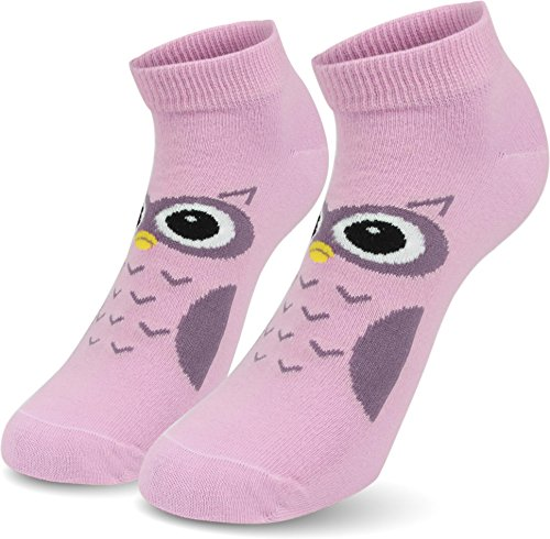 3 Paar Kurze Socken Sneaker Sportsocken für den Sommer - Sommersocken Sneakersocken Farbe Eule-Pastell Größe 39/42