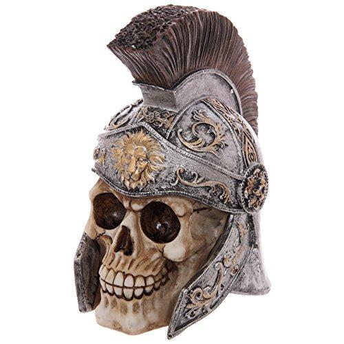 Puckator SK218 Crâne de décoration Portant Un Casque de Centurion, Résine, Beige/Gris/Noir, 19 x 13 x 21 cm