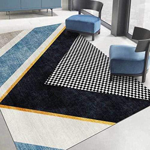 Tapis de Salon Chambre Design Moderne Rug Grille Noire Gris Bleu géométrique Simple Déco Rectangle Antidérapant Lavable 160×230CM( 5ft3 x7ft8)