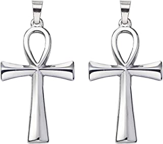 DanLingJewelry 10 pcs 304 Stainless Steel Egyptian Ankh Cross Pendants Smooth Surface Pendants for Jewelry Making Stainless Steel Color 44.5x25.5mm