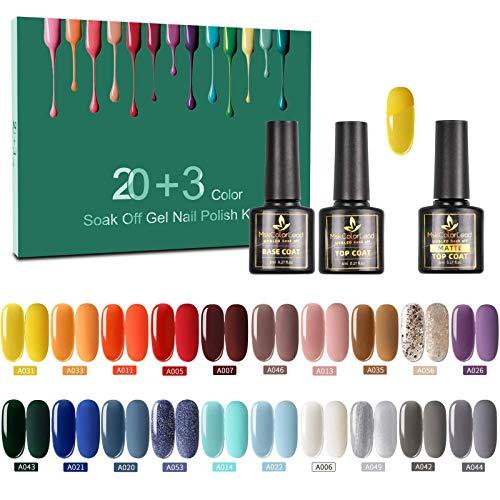 Vernis Semi Permanent -23 Vernis Manucure Nail Art Lot Vernis à Ongles Vernis Gel UV LED Nail Polish Soak Off 20 Couleurs Populaire, Base et Top Coat, Matt Top Coat, 8ml