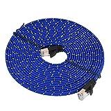 Demeras Cable de Red CAT7 RJ45 de Alta Velocidad 10/100/1000 Mbit/s Cable Plano Gigabit Ethernet 0,5 m / 1 m / 1,8 m / 3 m / 5 m / 10 m Cable LAN(5 m)