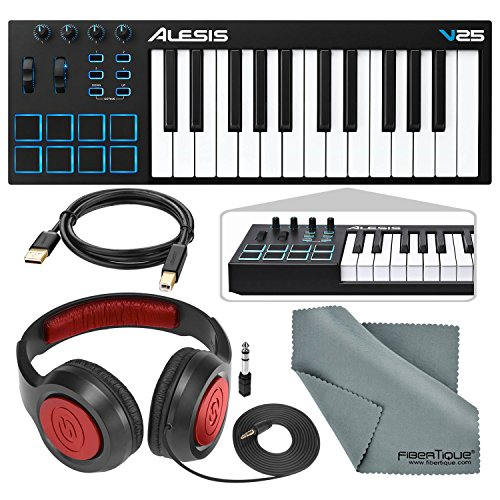Alesis V25 25-Key USB MIDI Keyboard Controller & Drum Pad with Samson Over-Ear Headphones, Cable, and Microfiber Cloth