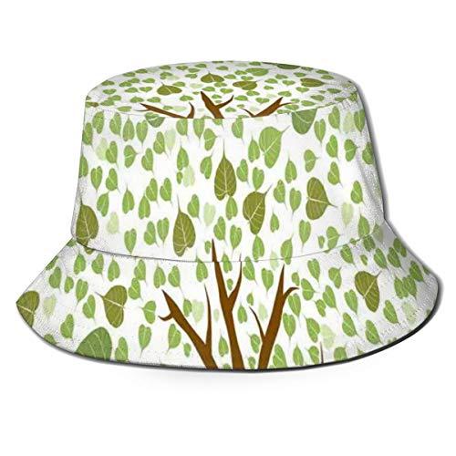 Unisex Summer Fisherman Cap,Sacred Fig Bodhi Tree Illustration Full of Leaves Archaic Enlightenment,Travel Beach Outdoor Sun Hat