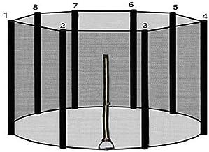 ULTRAPOWER SPORTS Trampolinzubehör Ersatznetz Sicherheitsnetz für Trampolin | Ø 305/366//397/427 cm | 8 Stangen | UV-beständig | Extrem Reißfest Trampolinnetz