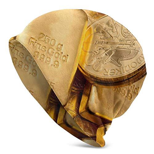 BGDFN Nugget Gold Coin Gorro de Punto Brillante Gorro cálido Gorros elásticos Suaves con puños de Calavera Gorro Diario para Unisex