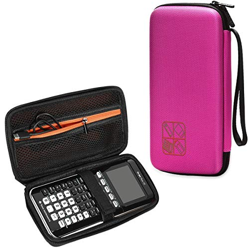 BOVKE Hard Graphing Calculator Carrying Case for Texas Instruments TI-84 Plus CE/TI-83 Plus CE/Casio fx-9750GII, Extra Zipped Pocket for USB Cables, Manual, Pencil and Other Items, Positively Pink