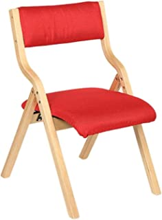 GCX Moda Silla De Oficina Silla Plegable Portátil De Casa De Madera Silla De Comedor Silla De Oficina Silla De Escritorio Durable (Color : Red)