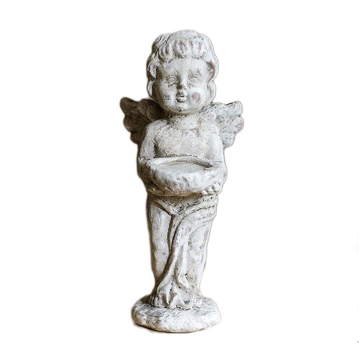 プレフィックスレザー情報エンジェルキャンドルホルダー、陶磁器人形キャンドルホルダーおかしいキャンドルウェディングガーデンコートヤードビンテージアートデコールキューピッドギフト用スタンド (サイズ : B)