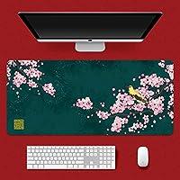 拡張ゲームマウスパッド、中華風 滑り止め デスクパッド 大 柔らかい キーボードパッド ゴム 厚さ3mm オフィスおよび家のため (Color : P, Size : 900x400mm)