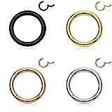 Trend Agent Piercing Ring Septum Clicker SEGMENTRING Nasenring Damen Herren Chirurgenstahl Ohrring 4er Set Gold Silber Rosé Schwarz