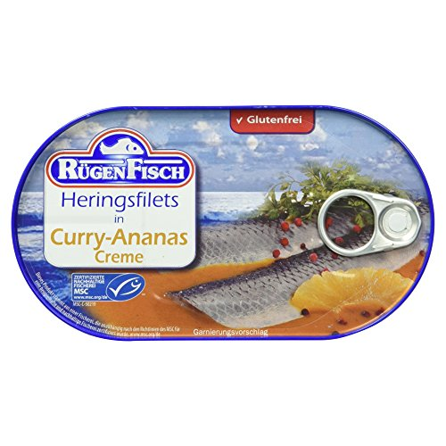Rügenfisch Heringsfilet in Curry-Ananas Creme, 200g
