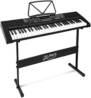 ALPHA 61 Keys Electronic Piano Keyboard Portable Battery Electric Piano with USB Input, Headphone Output, Adaptor, Battery...