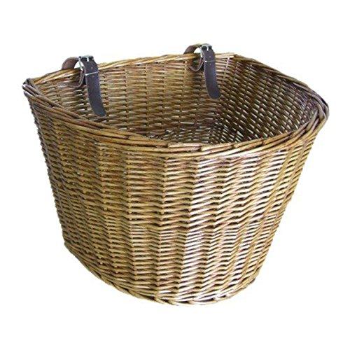 TaoToa Retro, cesta delantera de mimbre para bicicleta con correas de cuero