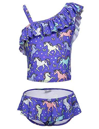 DUSISHIDAN Mädchen Bademode Zweiteiliger Badeanzug Kinder Bikini Schulter Oberteile und Hose mit Rüschen 110-176, Lila Pferd, 152-164 L(12)