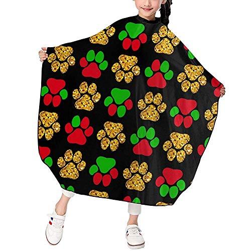 Peluquería para niños impermeable, delantal de corte de pelo extra largo de 47 x 39 pulgadas con cierre a presión, capa de peluquero de dibujos animados lindo, rojo, verde y dorado, pata de perro
