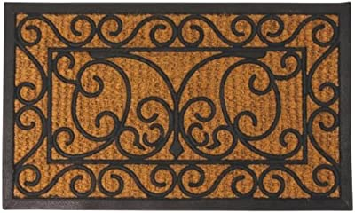"Esschert Design Rubber Doormat with Cocos - Rectangle 29.5"" x 17.75"""