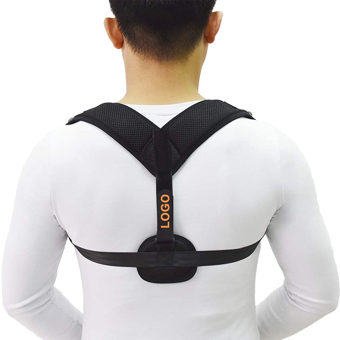 オーバーフロー左細分化する女性と男性の背中の姿勢ブレース、調節可能な鎖骨サポートを備えた矯正ショルダーストラップ-最も効果的で快適な姿勢サポート,黒