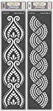 CrafTreat Border Stencils for Painting on Wood, Canvas, Paper, Fabric, Floor, Wall and Tile - Border7 and Border8-2 Pcs - 3x12 Inches Each - Reusable DIY Art and Craft Stencils Corner and Borders