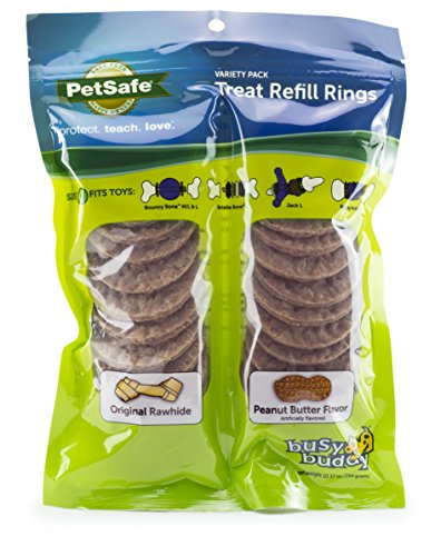 PetSafe Dog Treat Ring Variety Pack for Busy Buddy Toys – 2 Tasty Flavors – 24 Refills – Large (SIZE C RINGS)