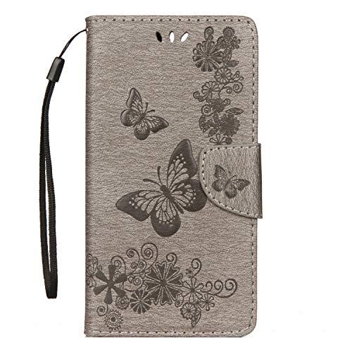 Kompatibel mit Hülle Huawei Y6 2018 / Huawei Honor 7A, Lederhülle PU Leder Flip Tasche Handy Schutzhülle Handyhülle Brieftasche Etui Ledertasche Bookstyle Handycover Schutzhülle Huawei Honor 7A, He