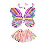 BESTOYARD Set de Disfraces de Mariposa para Chicas de 4 Piezas Set de Falda de Tutú Arcoíris con Alas de Mariposa y Un Vestido de Fantasía de Hadas para Halloween Birthday Cosplay Party Favor