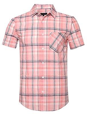 SOOPO Men's Slim-Fit Short Sleeve Plaid Twill Shirt