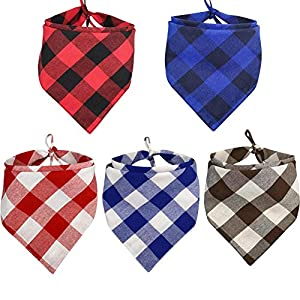 KZHAREEN 5 Pack Dog Bandana Plaid Reversible Triangle Bibs Scarf Accessories for Dogs Cats Pets