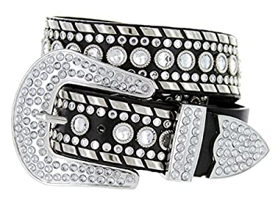 Western Cowgirl Bling Belt with Rhinestone Buckle Set and Studded Strap (34, Black)