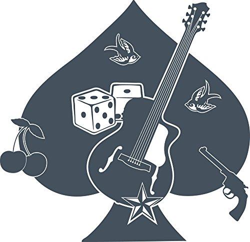 GRAZDesign Wohnzimmer Deko Rockabilly - Wanddeko Jugendzimmer Pik Kirsche Schwalbe - Wandtattoo Rockstar Gitarre und Würfel / 31x30cm / 841 Blue Grey