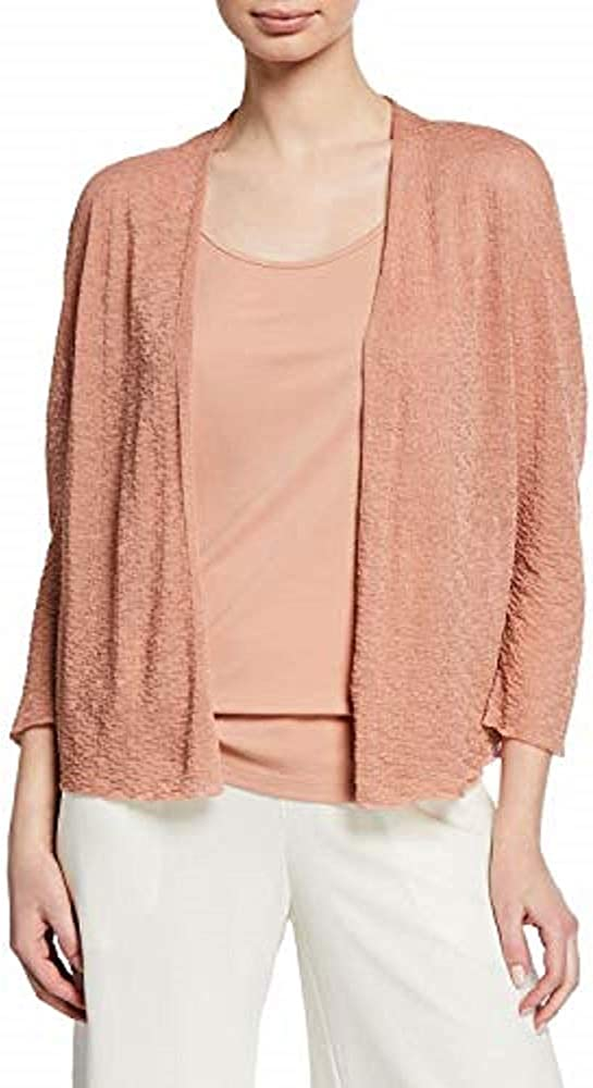 Eileen Fisher Toffee Cream Fine Organic Linen Crepe Knit Short Cardigan Size S/P MSRP $188