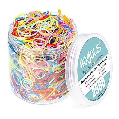 Mixed Color Elastic Hair Bands, 2500 Small Rubber Bands Braids for Girls Kids Women Non-Slip Tiny Soft Hair Ties Braiding Hair Accessories Value Pack Colorful Hoyols