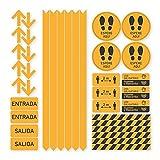 Pack 36 Vinilos Señalización Distancias de Seguridad | Adhesivos de Medidas de Protección y Seguridad para suelo o paredes | Vinilo para crear Limitaciones, Circulación y Zonas de Espera (NARANJA)