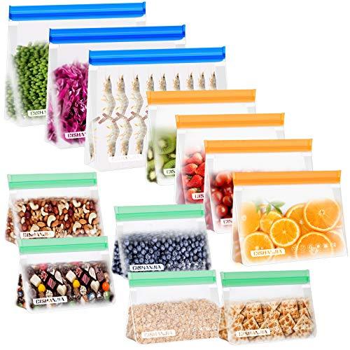 CISHANJIA Bolsa Silicona Reutilizables, 12 piezas Bolsas Congelar Reutilizables sin BPA Bolsas de Almuerzo Ziplock Snack, Bolsas de...