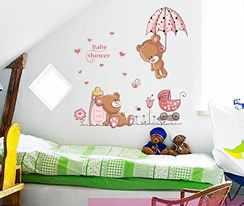 ufengke® Osos Lindos del Bebé y Flores Paraguas Pegatinas de Pared, Vivero Habitación de Los Niños Removible Etiquetas de La Pared/Murales