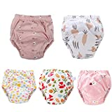 U0U Baby Toddler 5 Pack Training Pants for Boys and Girls Assortment Potty Training Underwear Cotton Waterproof Pant (Pink, 4T)