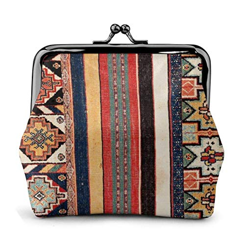Antike Marokko Nordafrikanische Flatweave Teppich Münztasche Lederwechsel Geldbörse Kuss Verschluss Schloss Mini Kosmetik Make-up Taschen für Frauen und Mädchen