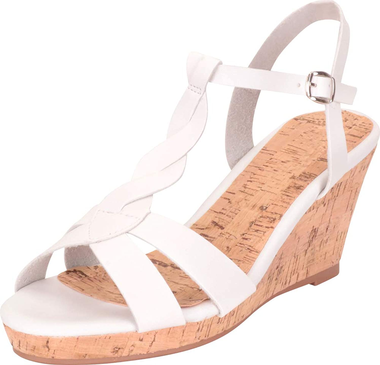 Cambridge Select Women's Twist T-Strap Chunky Platform Wedge Sandal
