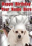 Tarjeta de felicitación de cumpleaños tamaño A5 personalizable con diseño de perro caniche j421 Chef Cook, regalo para todos los 2016 de Derbyshire UK