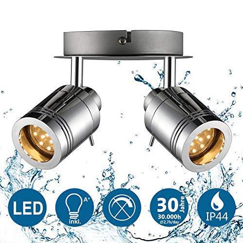 IMPTS LED Deckenleuchte Baddeckenleuchte Bad Deckenlampe Badezimmerleuchte inkl. 2x 3W Leuchtmittel IP44 GU10 230V Chrome Warmweiß für Bad Badezimmer