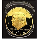 Trump Coin; 2020 Donald Trump Large 24kt Gold Plated United States Eagle Commemorative Collectible Coin of Original Design