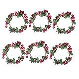Binchil 6 anillos de vela de Navidad con hojas verdes, anillos de vela para pilares, pequeñas coronas para centros de mesa o decoración rústica