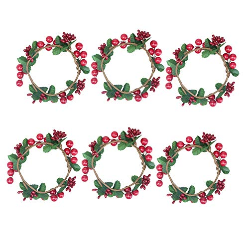 Senmubery 6PCS Christmas Candle Rings Wreaths,Berry with Green Leaves Candle Rings for Pillars Small Wreaths for Rustic Wedding Centerpiece or Table Decoration