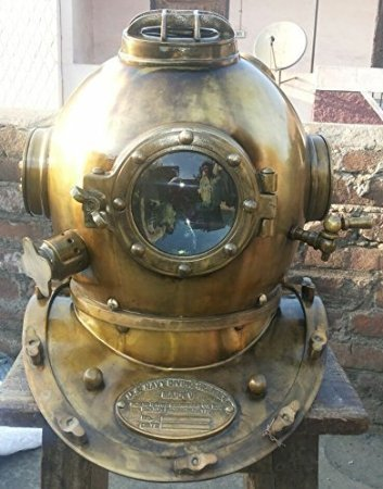 Antique Style Scuba Divers Helmet Collectible Design Brass Finish Us Navy Helmet