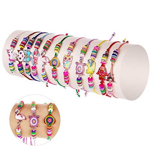 Danolt Friendship Bracelet, 12 Cute Unicorn Bracelets Adjustable Braided Girl Bracelet, Gift for Teen Girls for Kids Party
