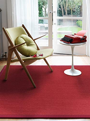 benuta Sisal Teppich mit Bordüre Rot 80x150 cm | Naturfaserteppich für Flur und Wohnzimmer